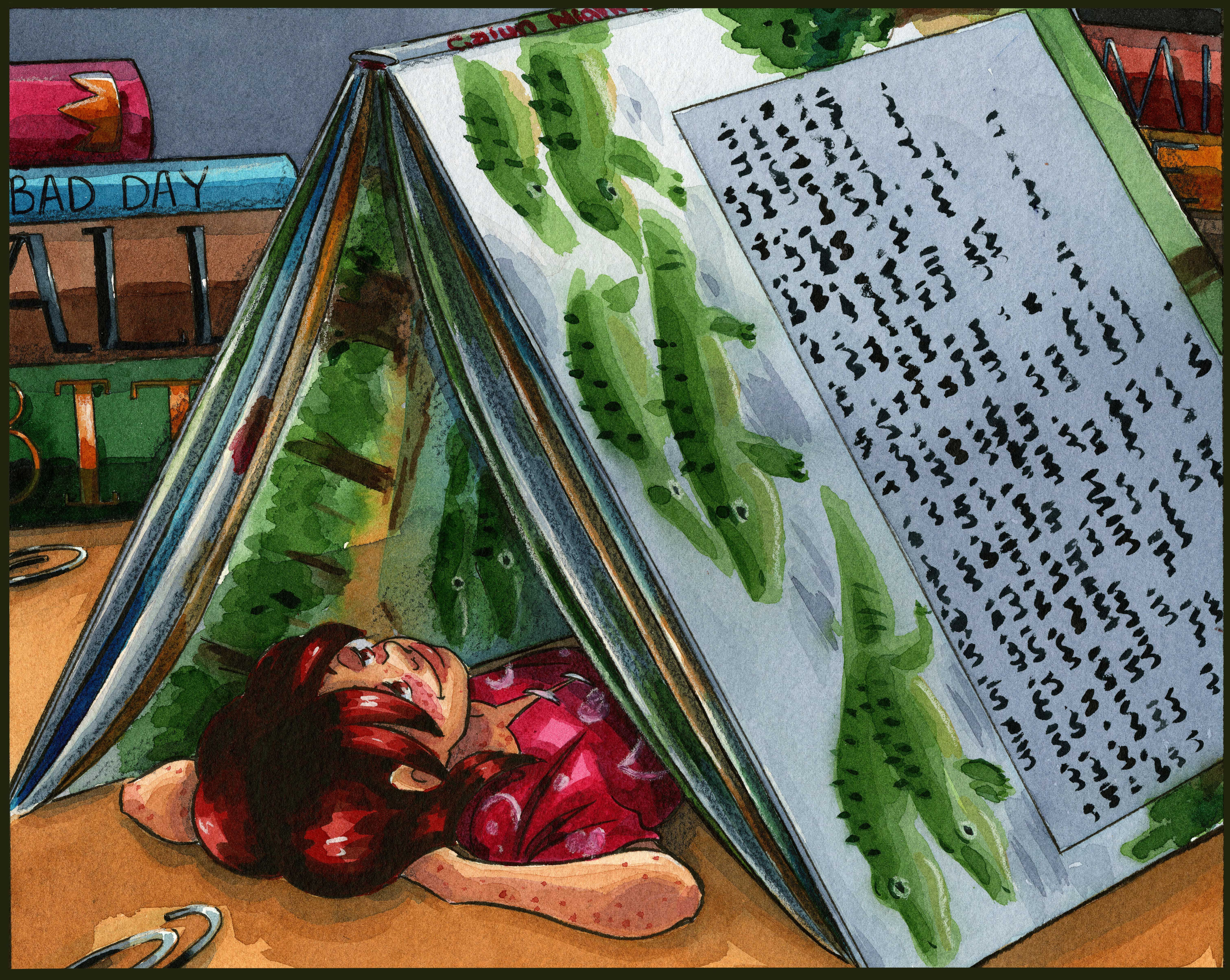 A book that doubles as a tent seems like a great way to get lost in a good story!  #watercolor #watercolorart #watercolorillustration #picturebookart #comicbookart #cuteart #ghiblivibes #webcomicart #art #illustration #painting
