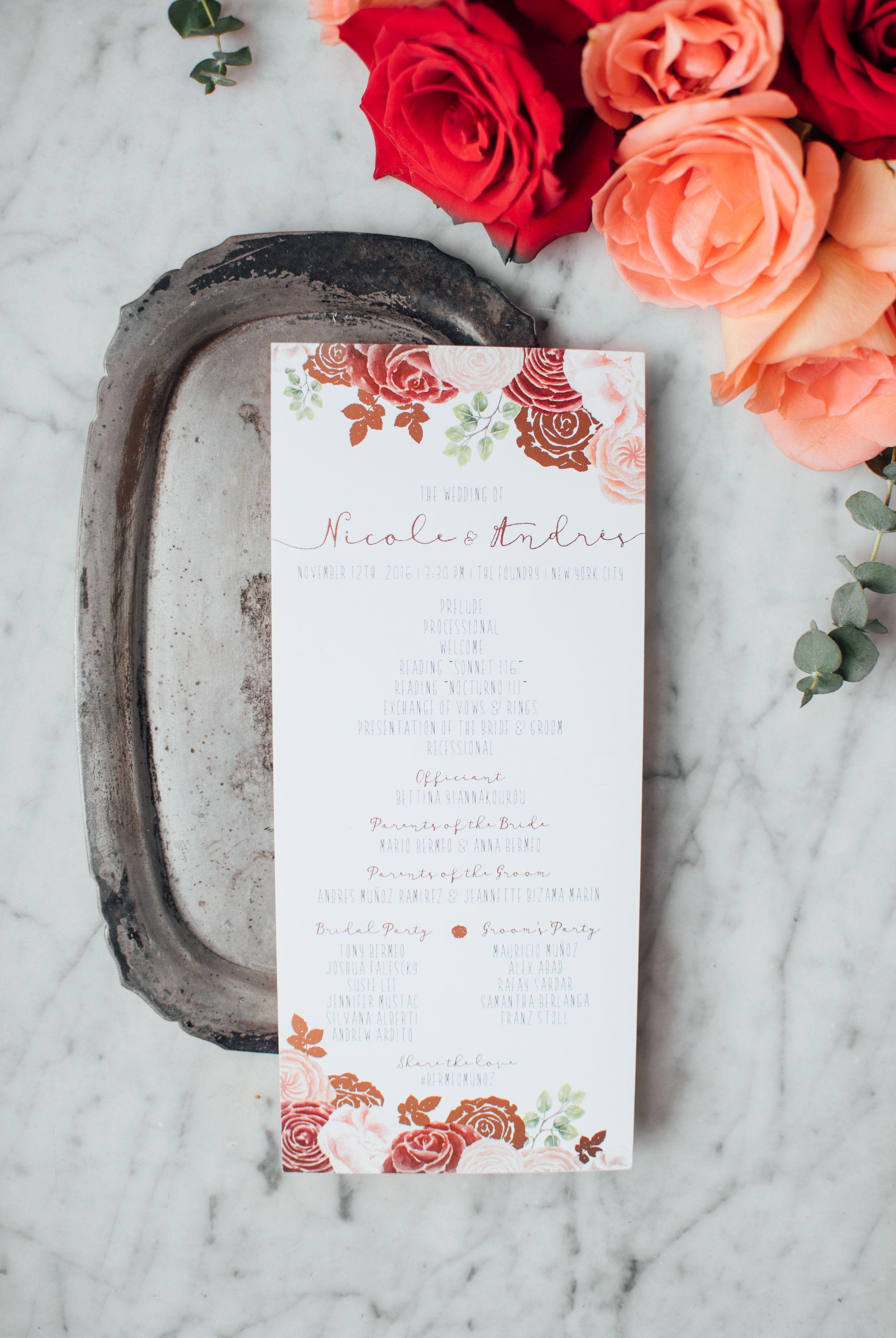 Rose gold foil burgundy and blush wedding program by