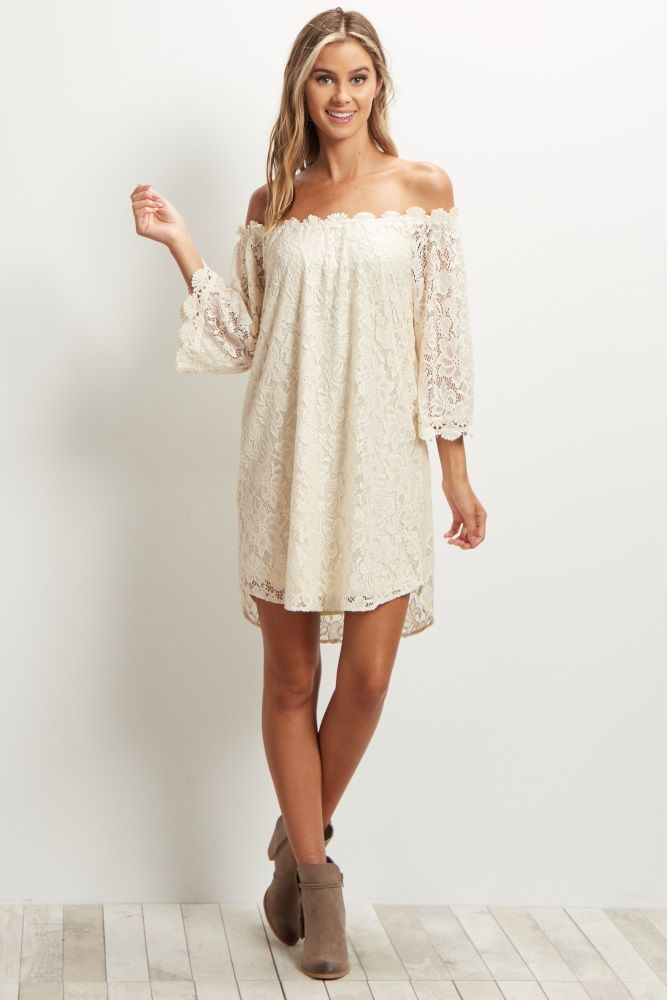 1146fa9bb96c Ivory-Lace-3 4-Sleeve-Off-the-Shoulder-Dress