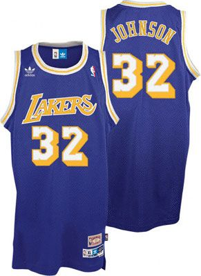 official photos ced46 8871d Magic Johnson Jersey: adidas Purple Throwback Swingman #32 ...