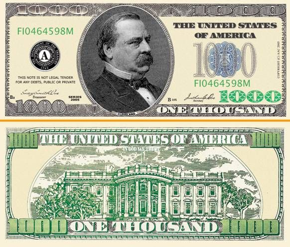 picture regarding Fake 1000 Dollar Bill Printable referred to as impression of $1000.00 hard cash - Google Glance Shed Zone 1000