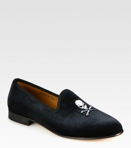 del toro black velvet slipper
