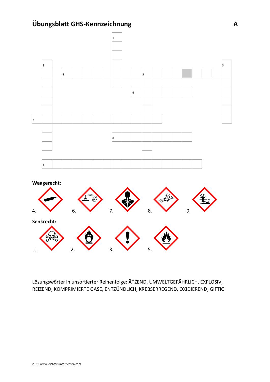 Übungsblatt GHS Pictogramme Kriss Kross – Unterrichtsmaterial im ...