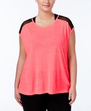 af13a882dc Material Girl Active Plus Size Mesh-Trim Top