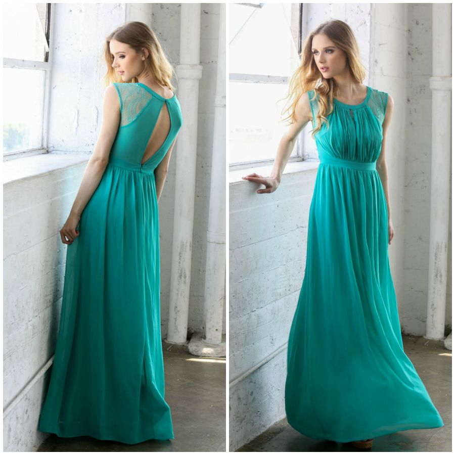 Shop the Teal Kate Maxi Dress with lace sleeve details and open ...
