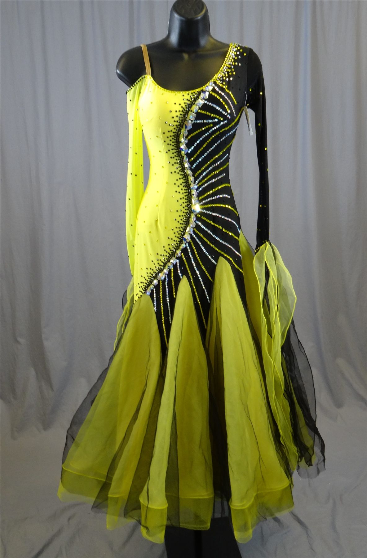 Elegant Black & Yellow Ballroom Dress | Dance dresses