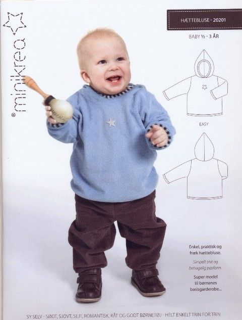 Hættebluse - Baby ½ - 3 år.