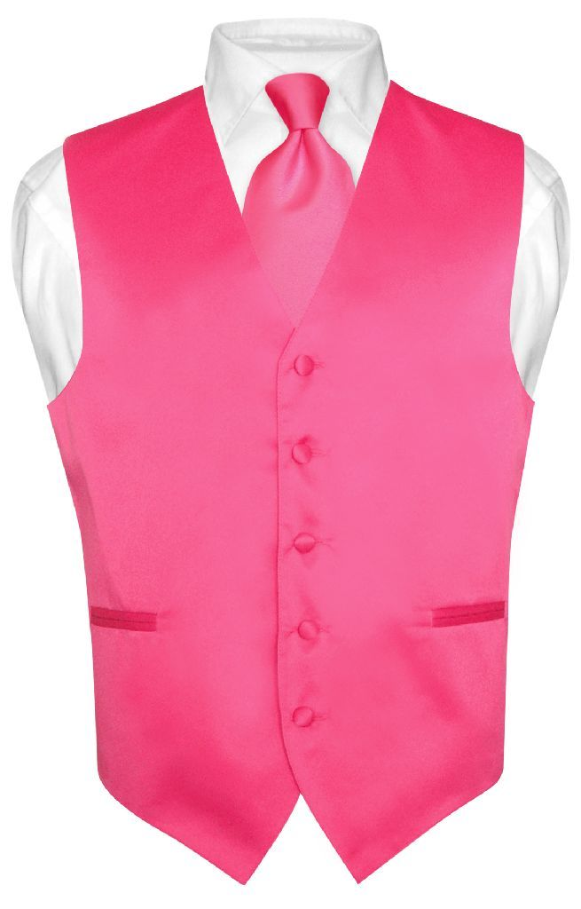 Men\'s Dress Vest NeckTie HOT PINK FUCHSIA Neck Tie Set for Suit or ...