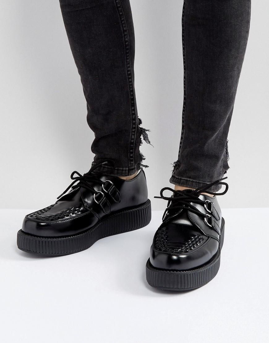 df46954393b0  AdoreWe  ASOS Shoes~~Flats - T.U.K T.U.K Platform Hi Shine Creeper Lace Up  Shoes - Black - AdoreWe.com