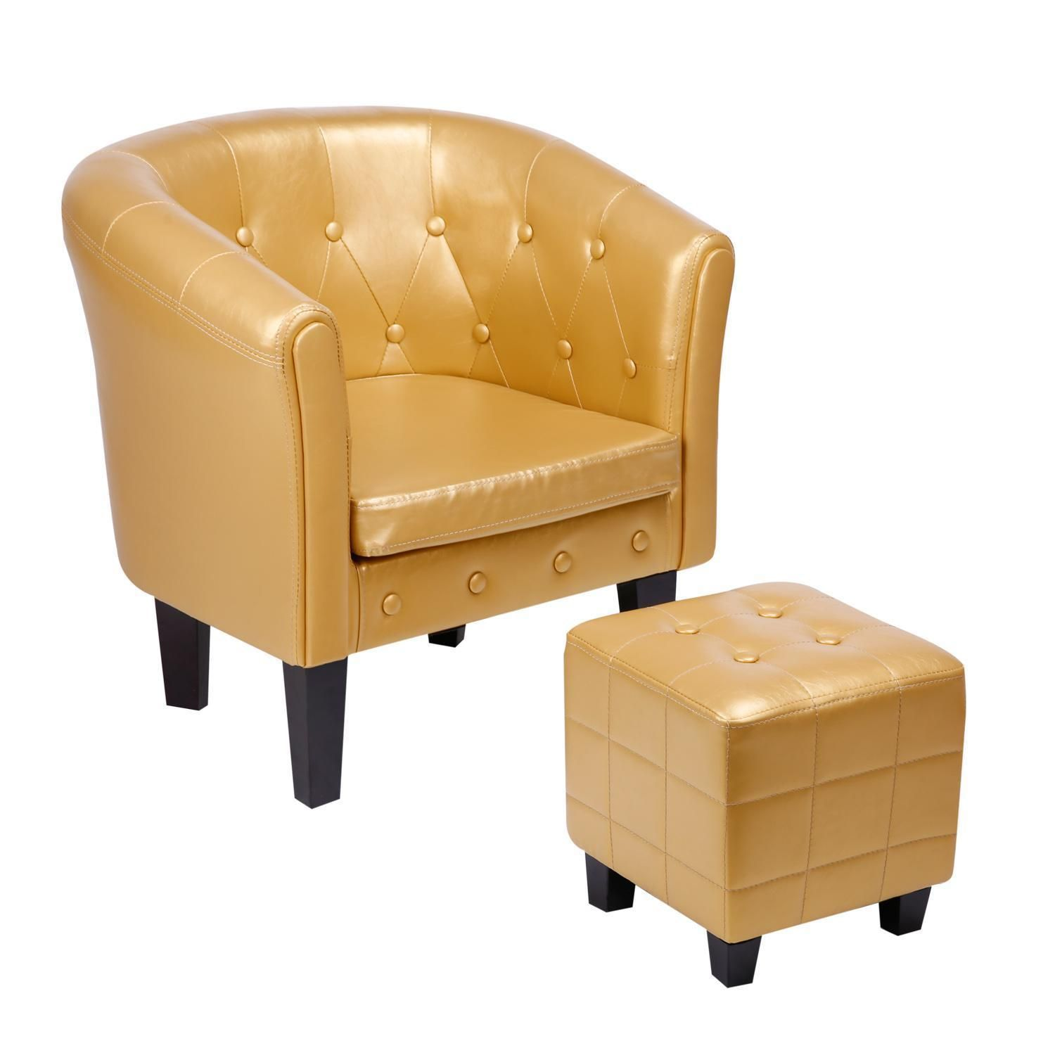 Cocktailsessel Orange Chesterfield Loungesessel Clubsessel Cocktailsessel Kunstleder Gold