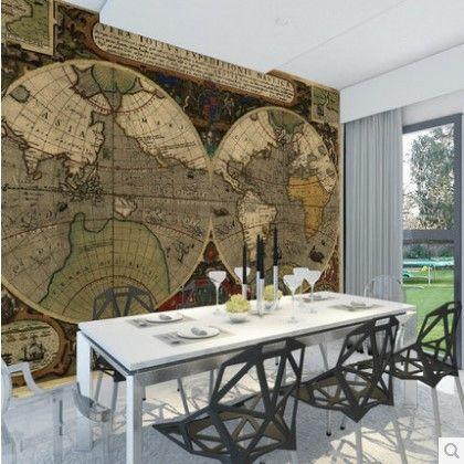 Personnalisé 3d photo papier peint Européenne rétro cartes nautiques