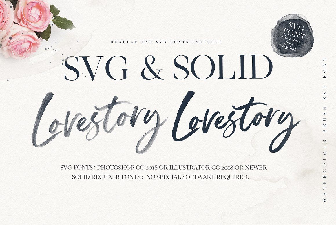 The Lovestory Font Collection Brush Font Watercolor Lettering