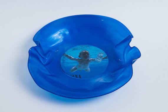 Blue Vinyl Record Bowl Nirvana Smells By Mimislatestobsession 25 00 Blue Vinyl Vinyl Records Record Bowls