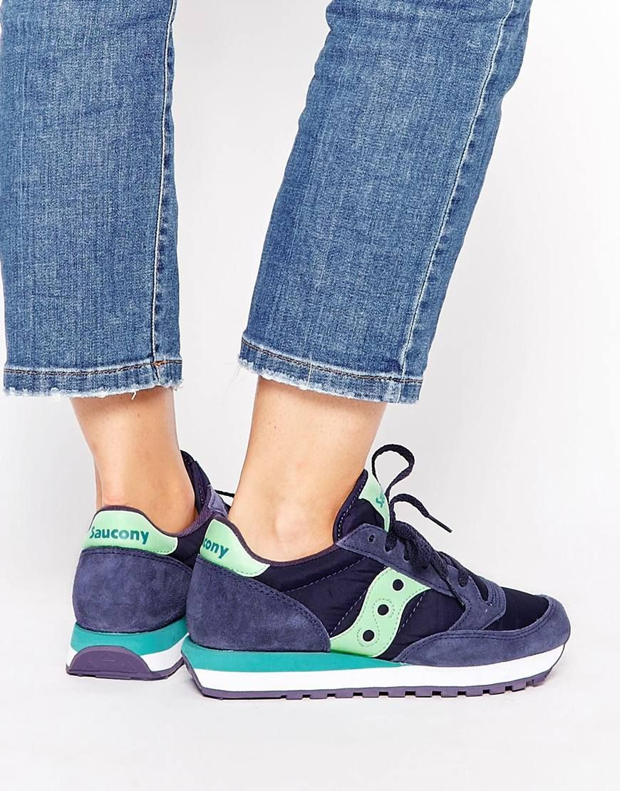 Image 1 of Saucony Jazz Navy   Mint Sneakers b26046ec61d