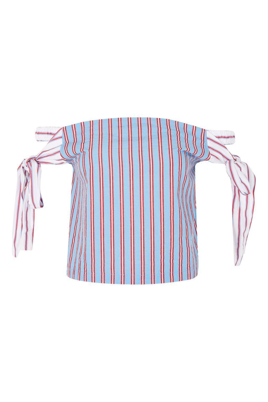 253f95d734b34 Tie Side Stripe Bardot Top