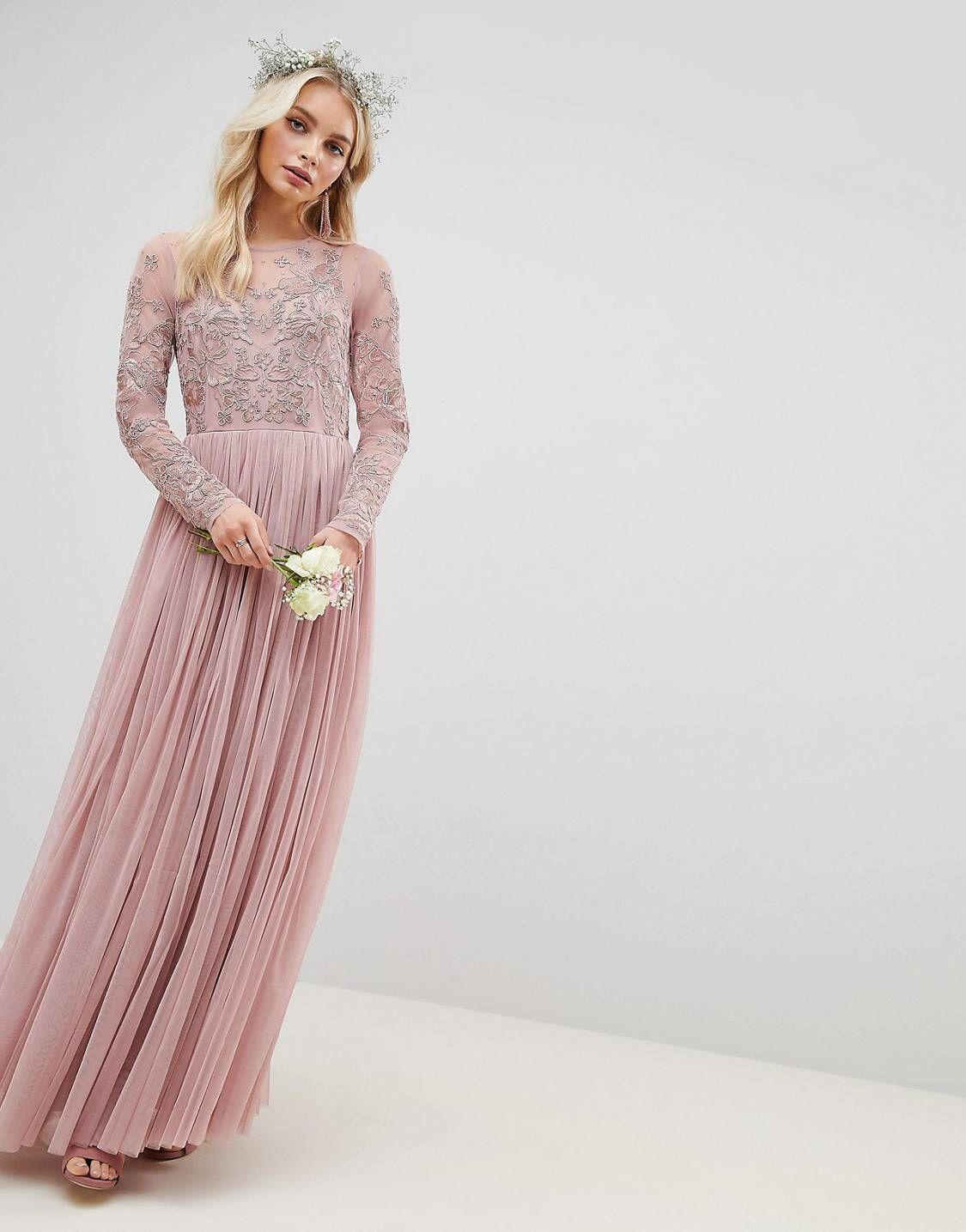 Design embroidered mesh long sleeve maxi dress dream wedding