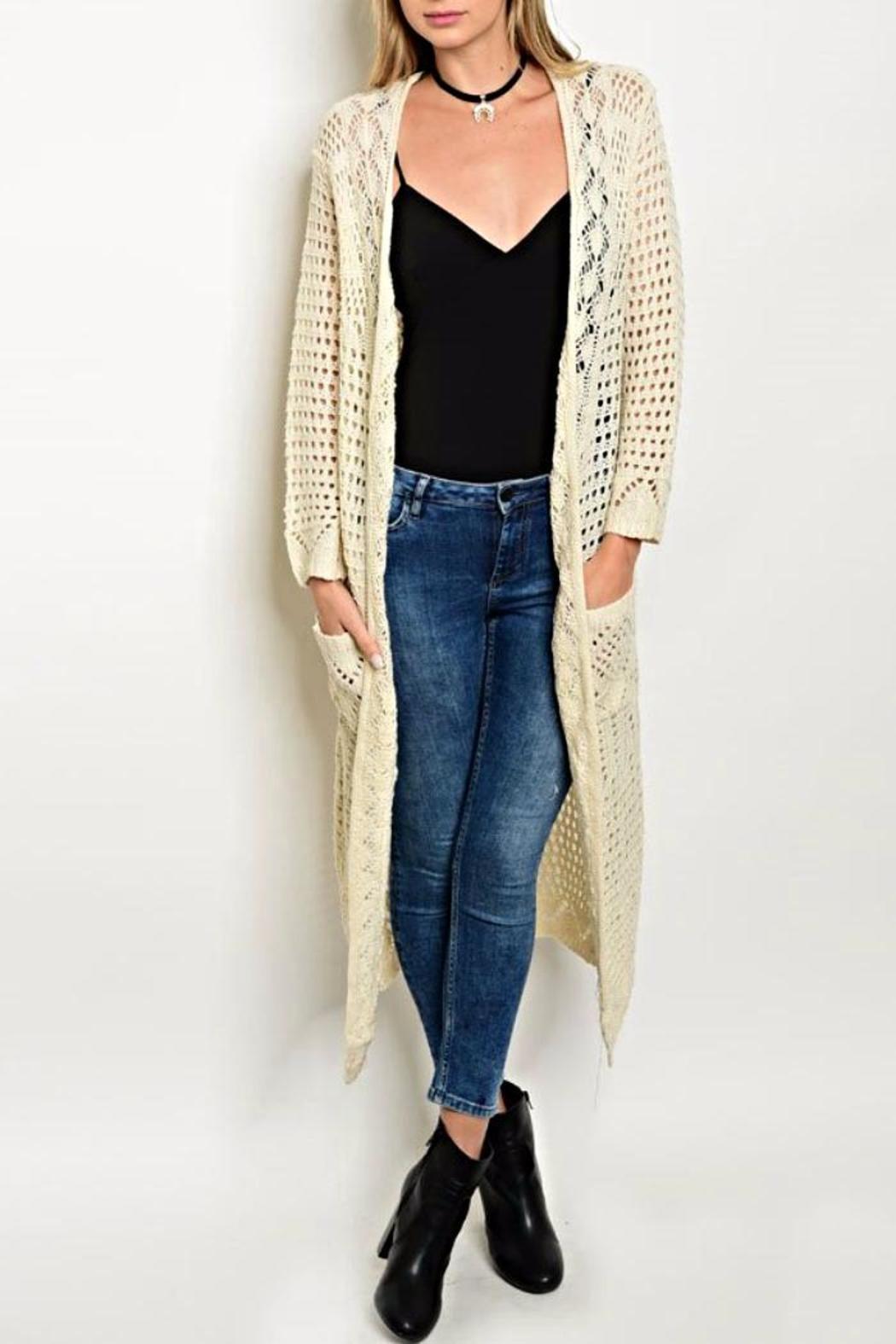 Sans Souci Cream Crochet Cardigan | Long cardigan