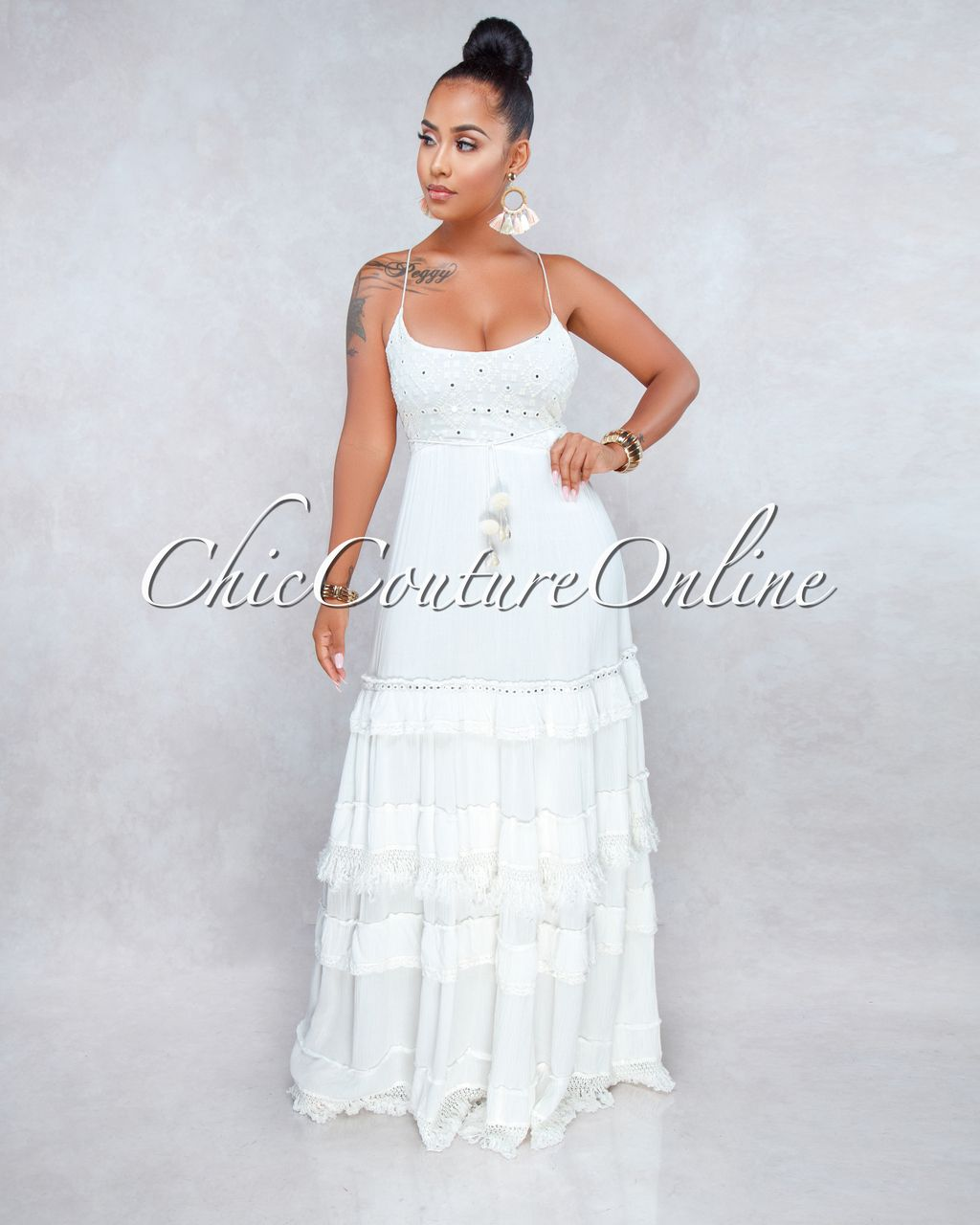 089cc852 Chic Couture Online - Rania Off-White Sequins Accent Tier Maxi Dress,  $150.00 (