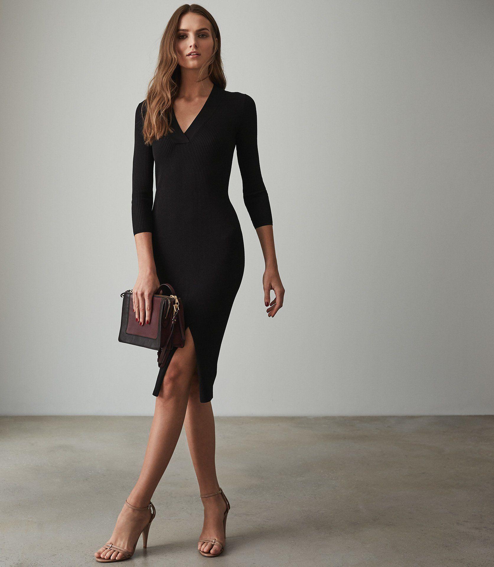 a17b66d70f Aletti V-Neck Knitted Dress - REISS