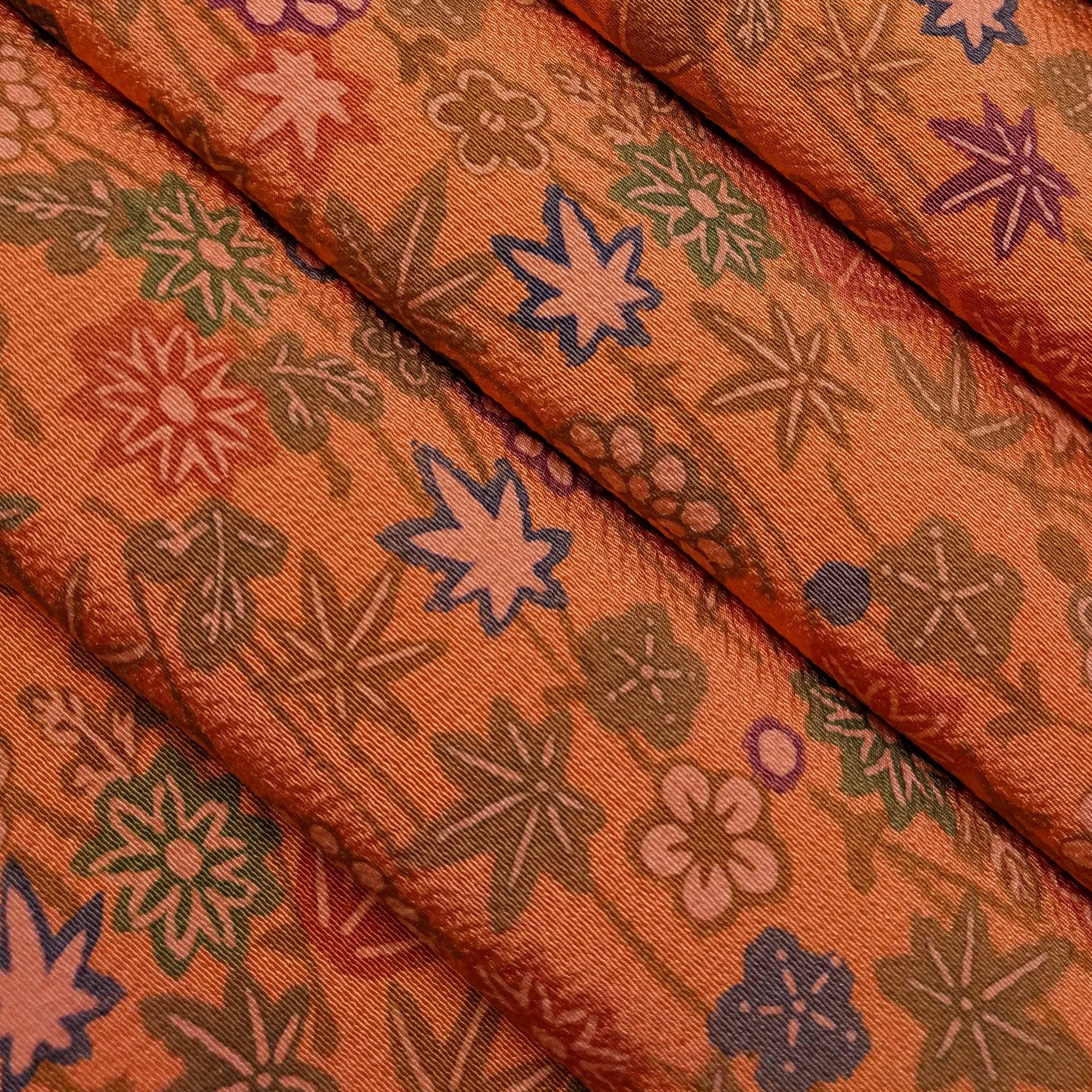 Chirimen Crepe Silk Kimono Fabric Autumn Orange Floral By The Yard Silk Kimono Kimono Fabric Fabric