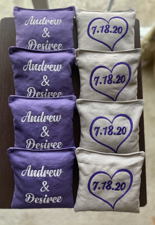 8 wedding custom embroidered corn hole bags choice of 2