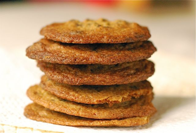 Perfectly Thin & Crispy Chocolate Chip Cookies. That's how my hubby likes them. I will have to give this a try next time I make chocolate chip cookies!