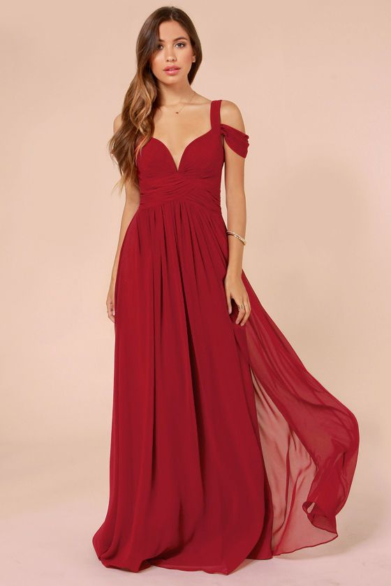 x Bariano Ocean of Elegance Wine Red Maxi Dress | Long dresses for ...