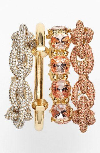 Stackable Bracelets #blushingbride #rose #palette #wedding #bbjlinen #bbjtablefashions