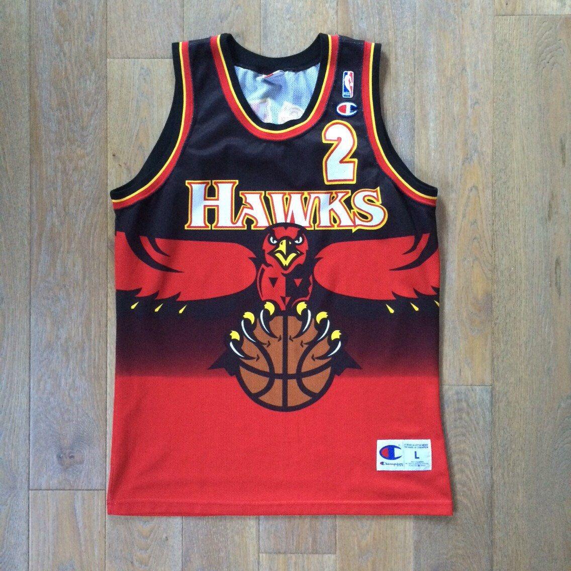 Vintage Nba Atlanta Hawks Jersey Stacy Augmon Champion Sz Lrg Jersey Vintage Basketball Jerseys Nba