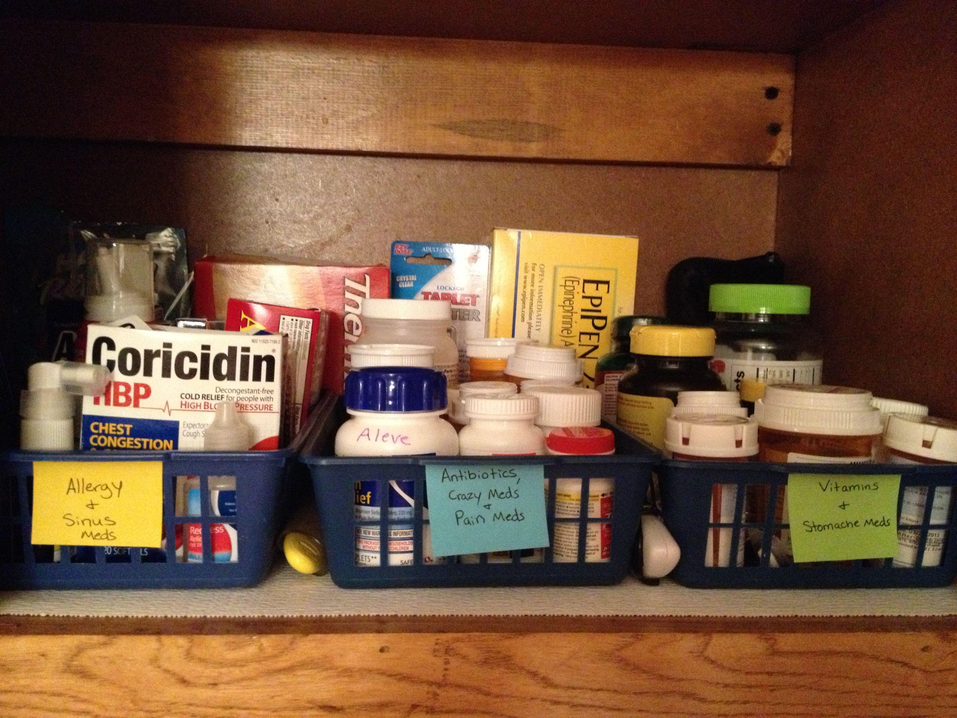 Medicine Cabinet. Use baskets to organize medicine by type ...
