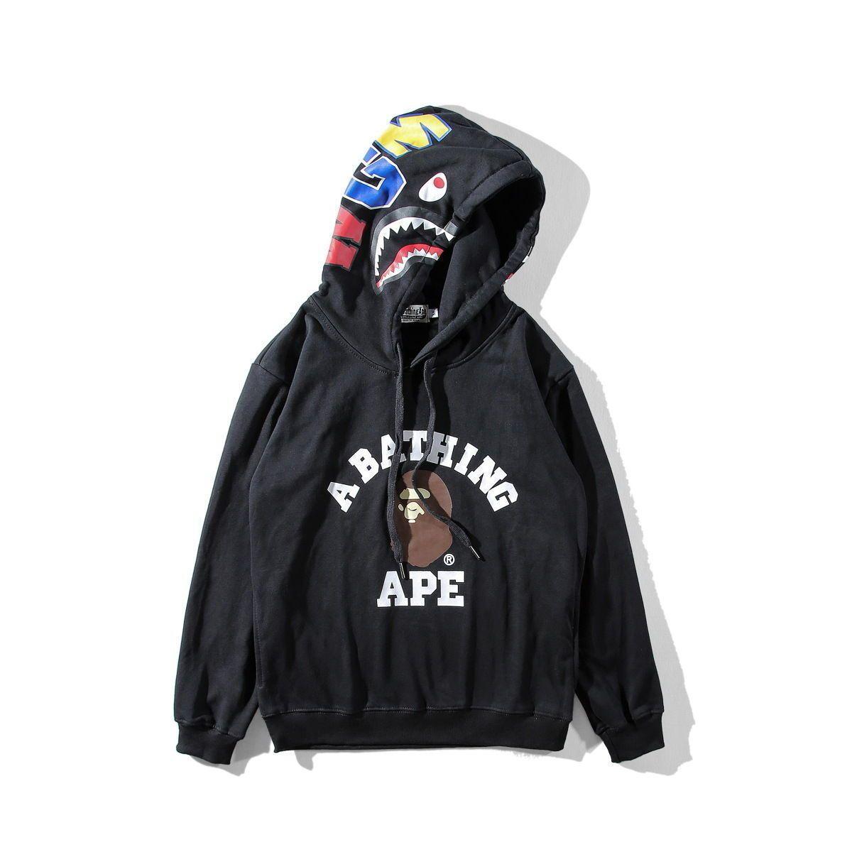 4e55b600f982 Latest A Bathing Ape Hoodie Hooded Shark Head Bape Black Sweatcoat  Sweatshirt
