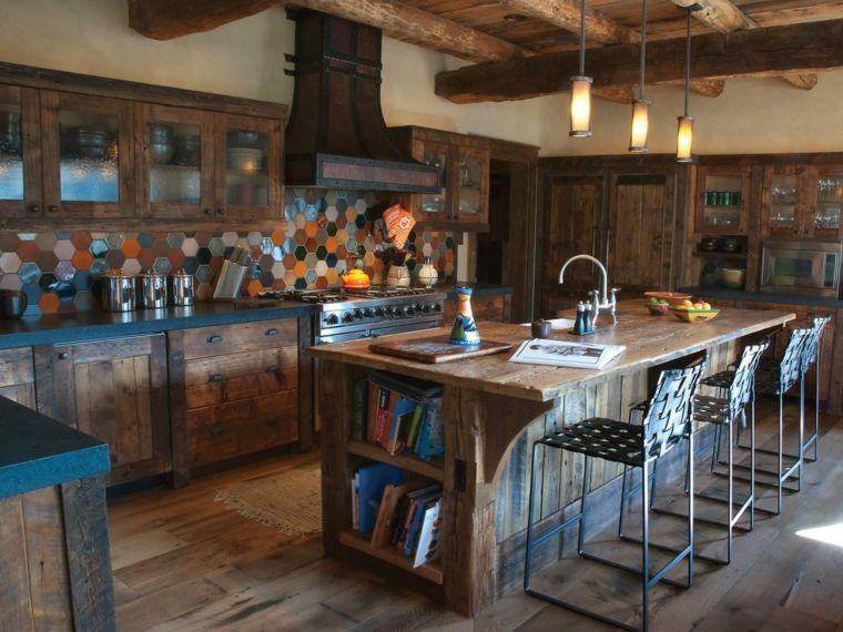 cuisine style ancien idée îlot central bois mobilier design ...