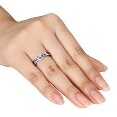 10k White Gold 0 20 Cttw Diamond Bridal Ring Set Kmart Diamond Bridal Ring Sets White Gold Wedding Rings Gold Wedding Rings