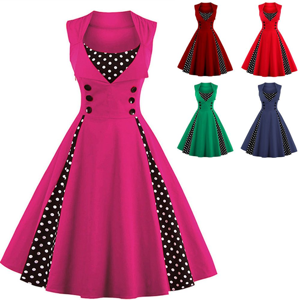 b1d60f93ae US Plus Size Vintage Polka Dot 50s ROCKABILLY Swing Pinup Housewife Retro  Dress  Unbranded  TeaDress  Cocktail