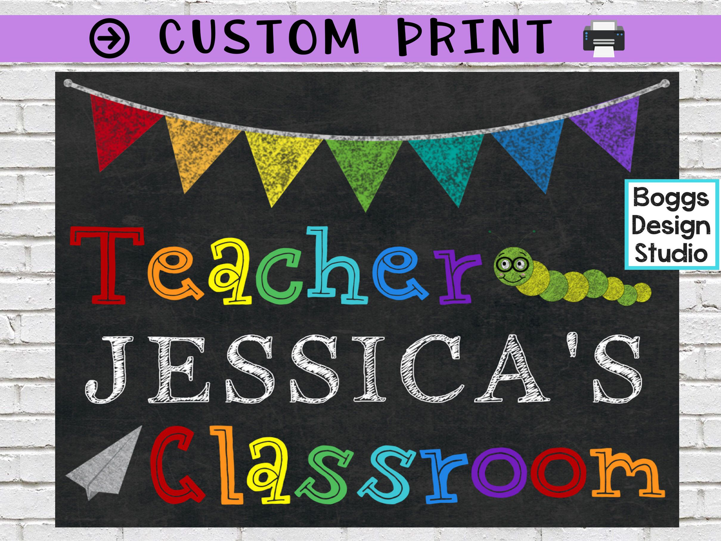 Gogokid background Personalize teacher name Magic Ears Custom Name Print Printable Custom sign Vipkid Backdrop Qkids Personalized Name