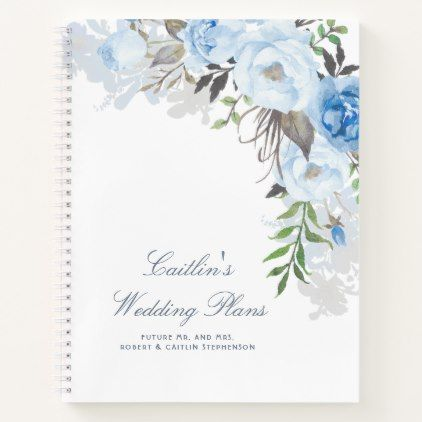 Dusty Blue Watercolor Flowers Elegant Wedding Plan Notebook