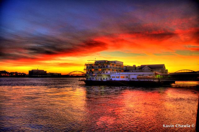 Beautiful Sunset on Mississippi River HDR
