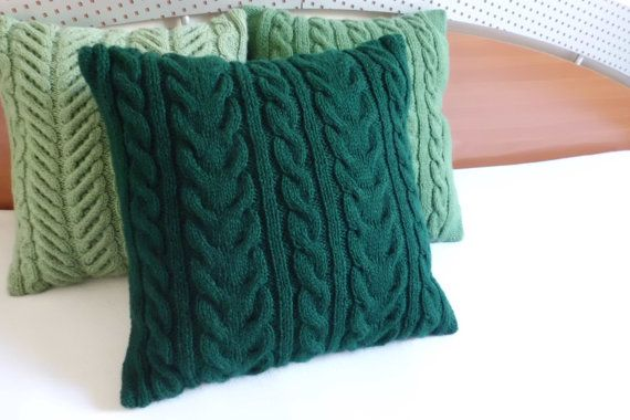 Dark Green Hand Knit Cushion Cover Green Cable By Adorablewares Knitted Cushion Covers Knitted Cushions Knit Pillow