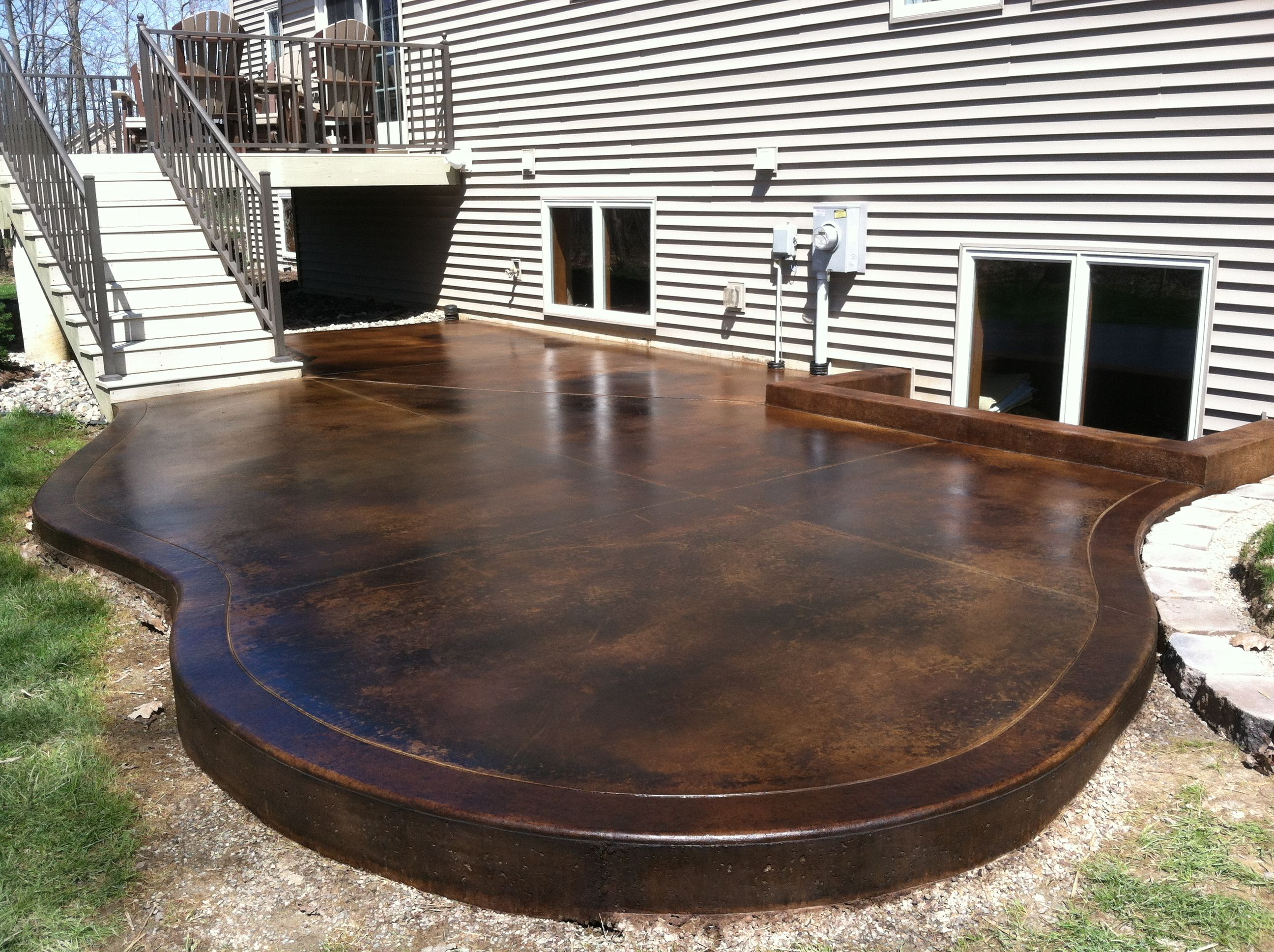Backyard Inspiration: Outdoor Stained Concrete | Outdoor Stained Concrete  Patio Dancer Concrete Design Fort Wayne .