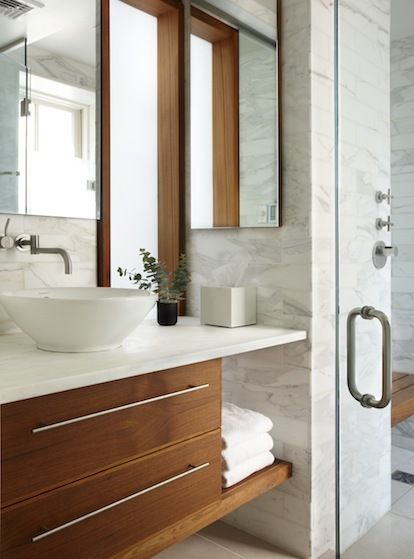Floating Wood Sink Cabinets With Vessel Sink And Wall