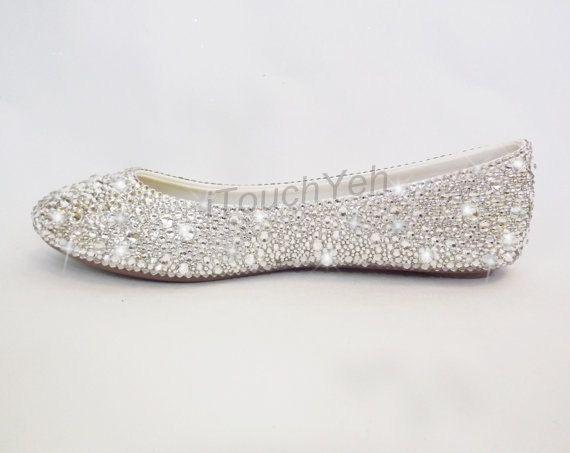 Clean Swarovski Crystal Wedding Flats Pumps Closed Toe Flats white ...