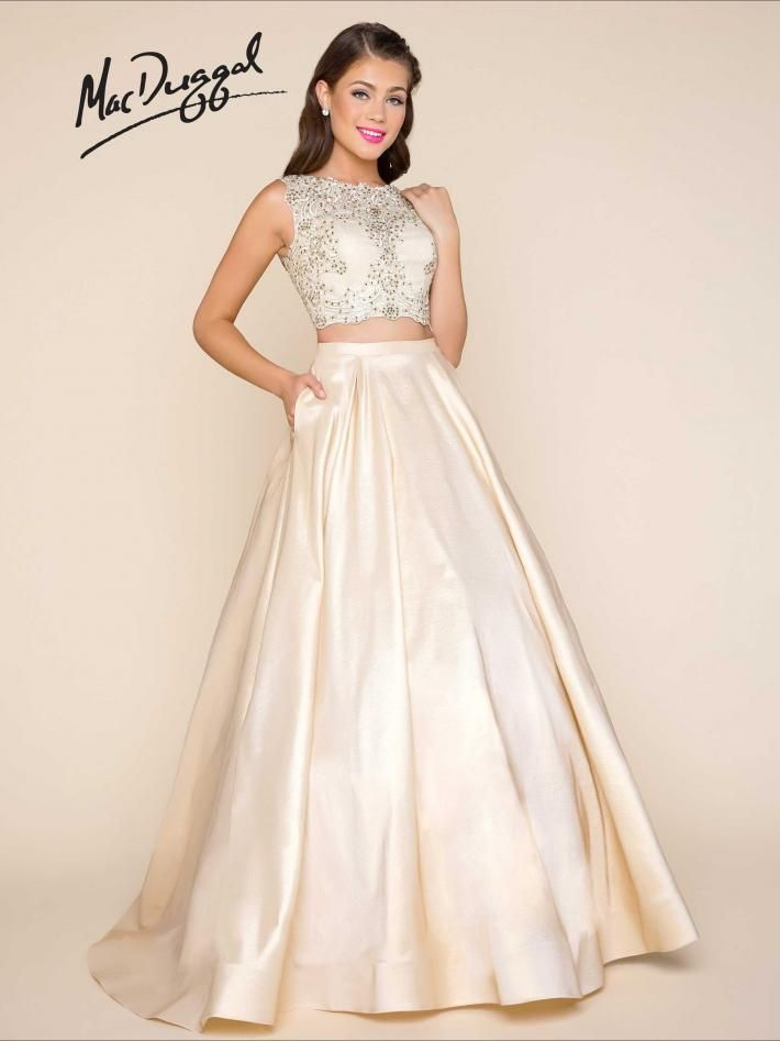 Gold Two Piece Ball Gown With Beaded Lace Applique Top And Skirt