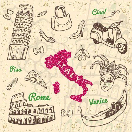 Conjunto De Simbolos Y Monumentos De Italia Simbolos Italianos Dibujos Elementos