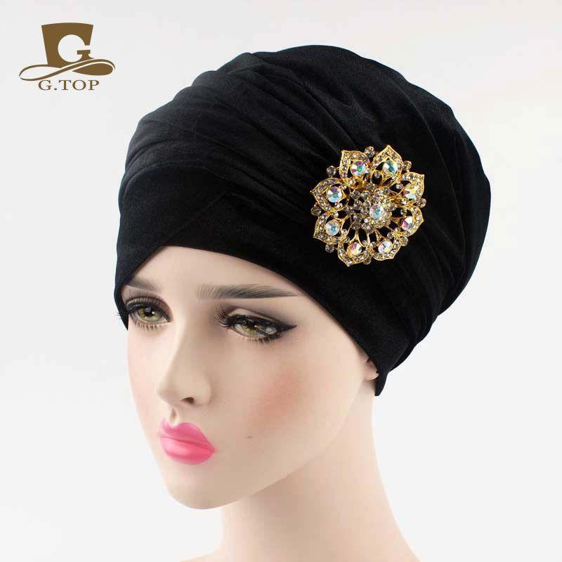 NEW Luxury pleated velvet Turban velour hijab Head Wrap Extra Long ...