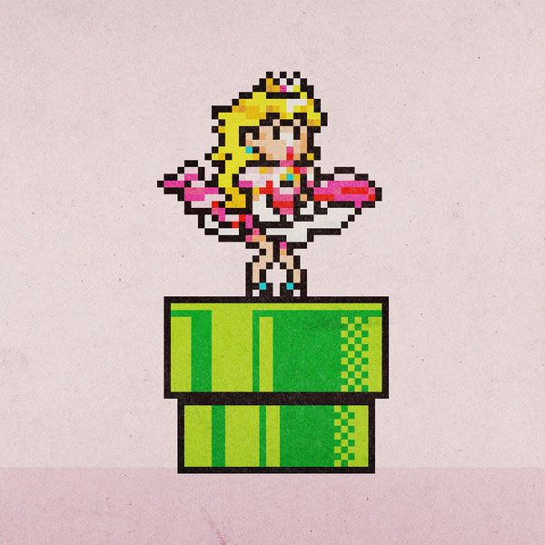 Mario Princess Peach Marilyn Monroe Pixel Art Cross Stitch