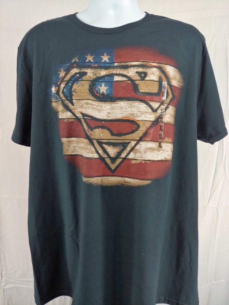 8439e54d4a9 Superman t-shirt american flag men s XL black  fashion  clothing  shoes   accessories  mensclothing  shirts