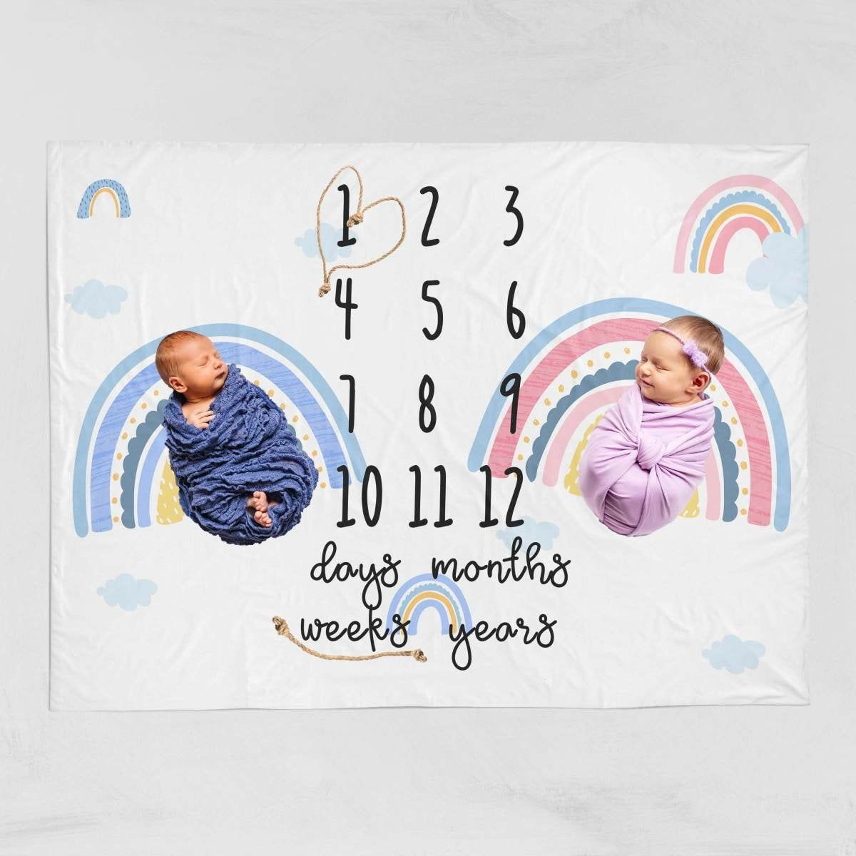 Twins Personalized Blanket Baby Blanket Monthly Milestone