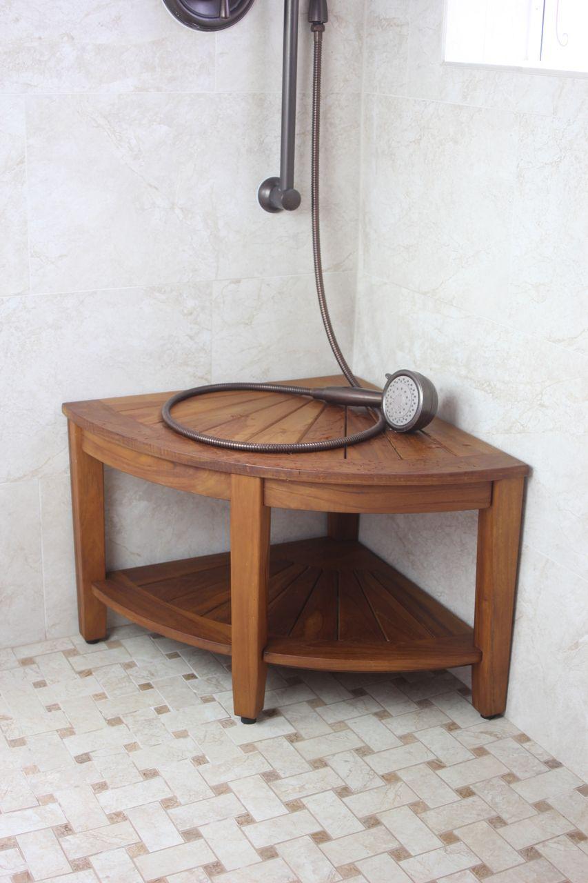 The Original 22 Quot Kai Corner Teak Shower Bench With Shelf