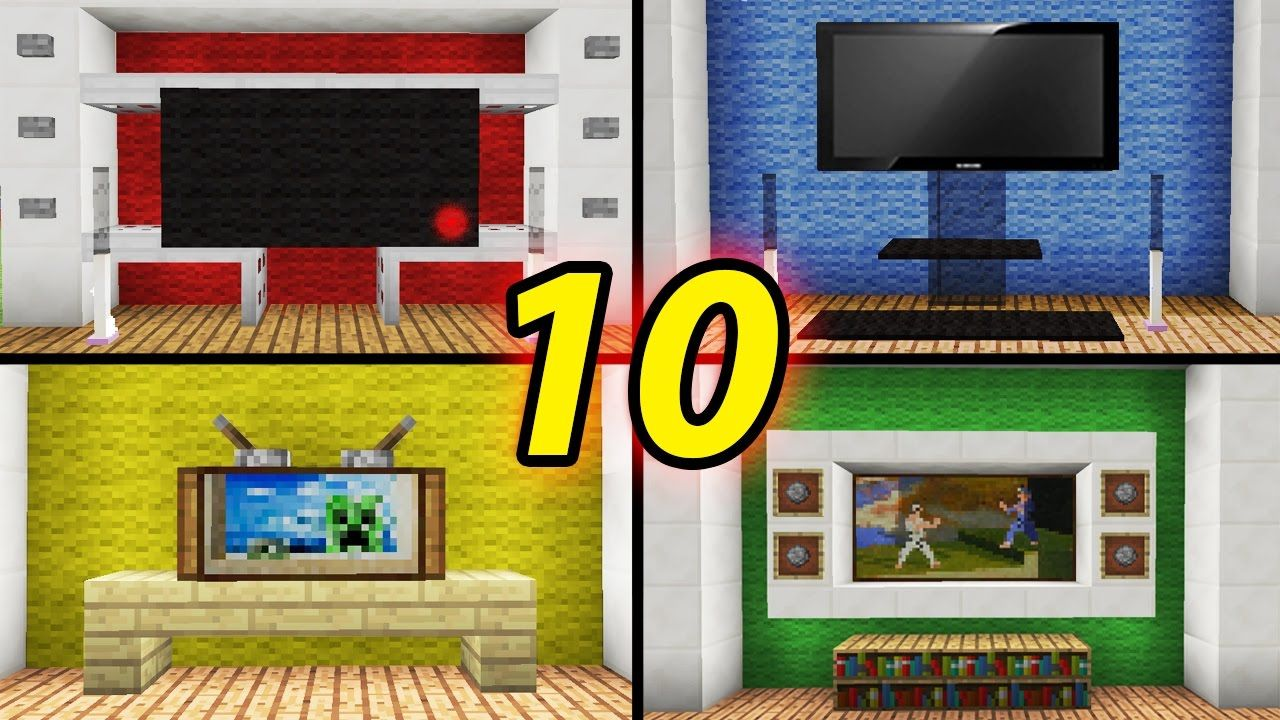 10 Tv Designs To Improve Your House In Minecraft How To Build Tutorial Modern Living Room Accessori Tv Design Minecraft Kitchen Ideas Minecraft Modern