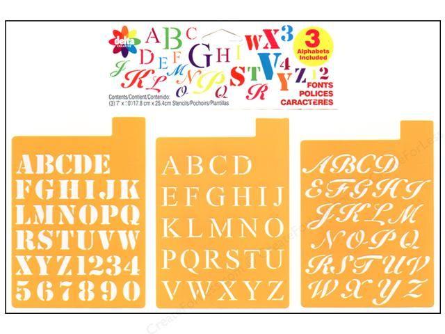 """Stencil Mania Stencils 7/""""x10/"""" 3//pkg-fonts 1/"""""""